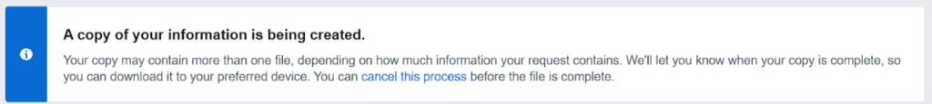 a copy of your information is being created