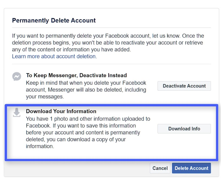 how to download facebook account information
