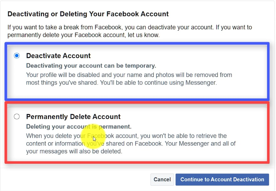 two options to delete your facebook account